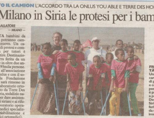 Da Milano in Siria le protesi per i bambini